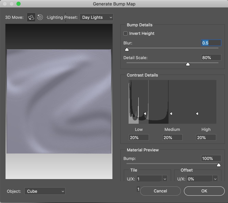 bump map creation in Adobe Photoshop